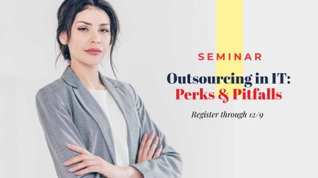Technology Seminar Announcement with Confident Businesswoman FB event cover Modelo de Design