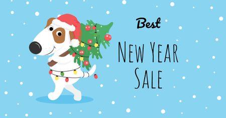 Designvorlage New Year Sale with Funny Dog in Garland für Facebook AD
