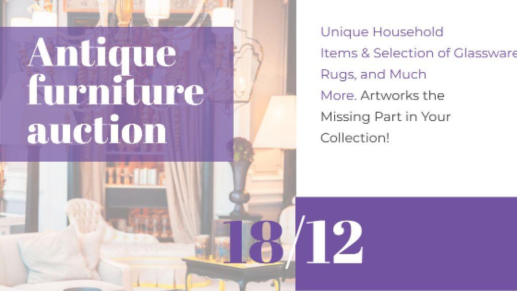 Plantilla de diseño de Antique Furniture Auction Vintage Wooden Pieces Title