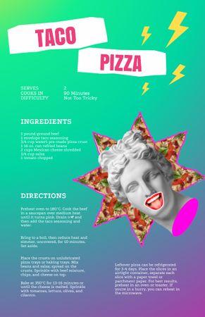 Modèle de visuel Taco Pizza Cooking Steps with Funny Antique Statue - Recipe Card