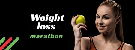 Weight Loss Marathon Ad with Woman holding Apple Facebook cover Tasarım Şablonu