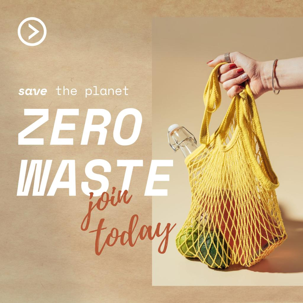 Szablon projektu Zero Waste Concept with Fruits in Eco Bag Instagram
