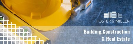 Plantilla de diseño de Building Business Construction Tools on Blue Twitter