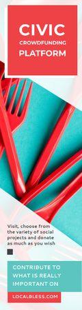 Plantilla de diseño de Crowdfunding Platform Red Plastic Tableware Skyscraper