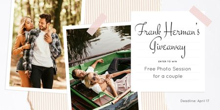 Photo Session Offer with Romantic Couple on a Walk Twitter Design Template