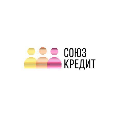 Credit Company with People Silhouettes Icon Logo – шаблон для дизайна