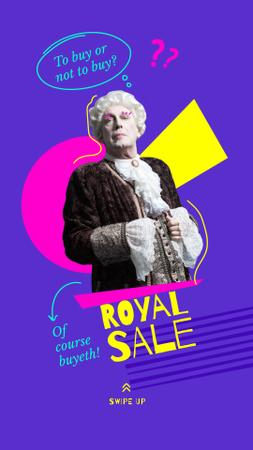 Modèle de visuel Sale Announcement with Man in Funny Royal Costume - Instagram Story
