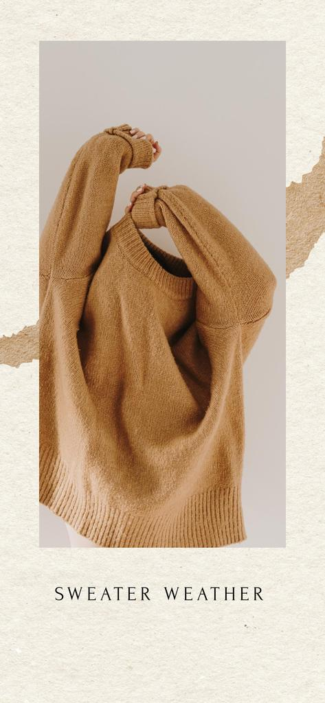 Woman hiding in Warm Sweater — Crear un diseño