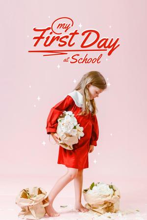 Back to School with Cute Little Girl Pinterest – шаблон для дизайна