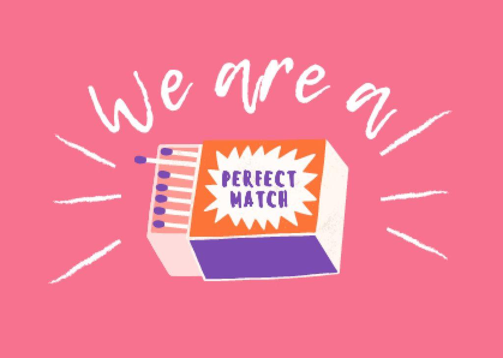 Cute Funny Phrase with Matchbox Card – шаблон для дизайна
