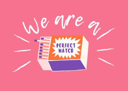 Plantilla de diseño de Cute Funny Phrase with Matchbox Card