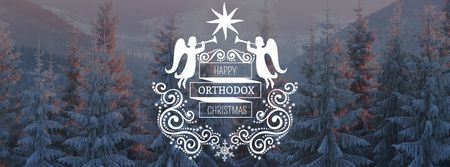 Orthodox Christmas Greeting with Snowy Forest Facebook cover Tasarım Şablonu