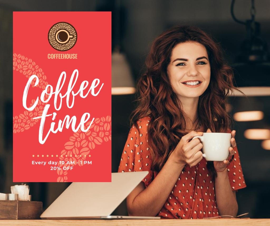 Woman holding coffee cup — Создать дизайн