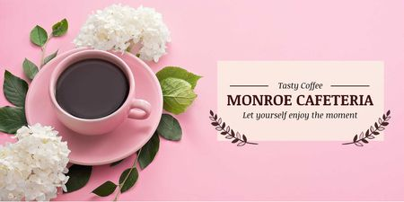 Cafeteria Advertisement with Coffee Cup in Pink Twitterデザインテンプレート