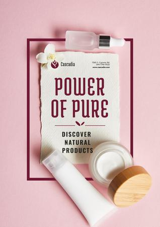 Natural Cosmetics products Offer with Flower in pink Poster Modelo de Design