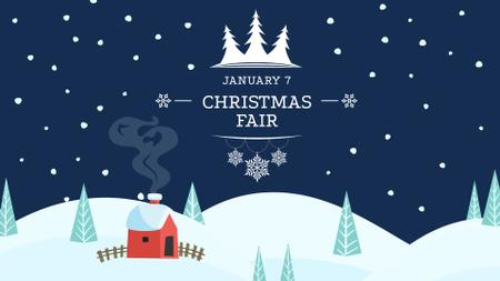 Ontwerpsjabloon van FB event cover van Christmas Fair Announcement with Snowy House