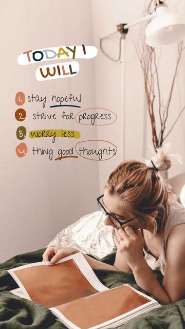 Plantilla de diseño de Mental Health Inspiration with Woman reading Magazine Instagram Story