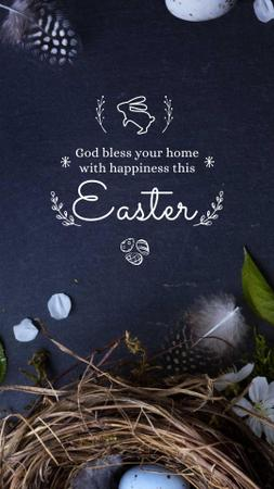 Plantilla de diseño de Easter Greeting with nest and eggs Instagram Video Story