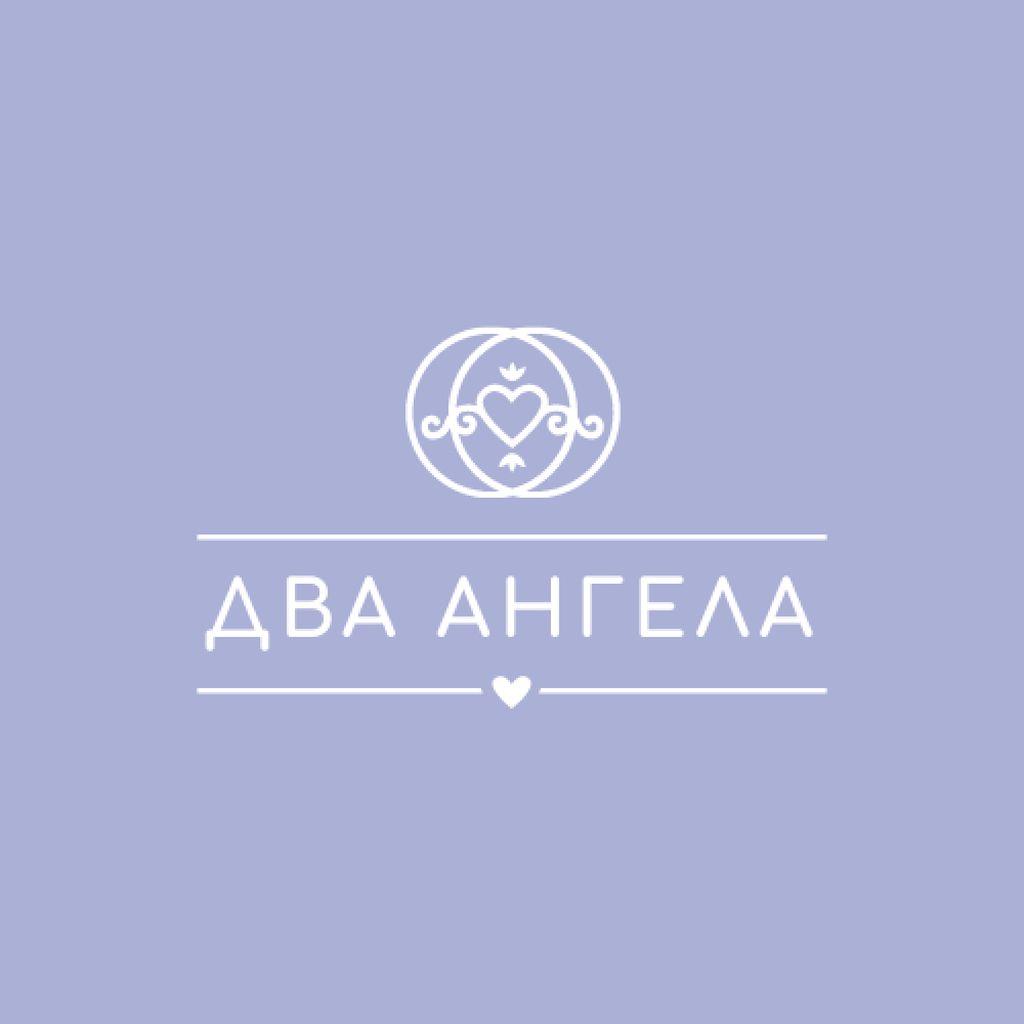 Wedding Agency Ad with Heart in Rings Logo – шаблон для дизайна
