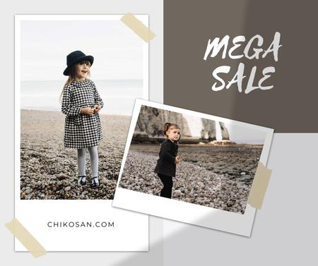 Children's Clothes Sale Ad with Cute Kids Facebook Modelo de Design