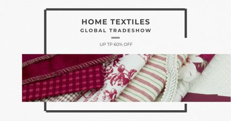 Home Textiles Event Announcement in Red Facebook AD Tasarım Şablonu