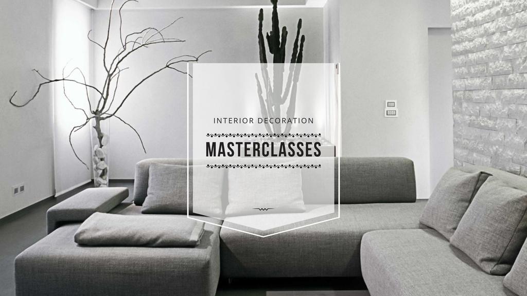 Interior Decoration Event Announcement with Sofa in Grey — Créer un visuel
