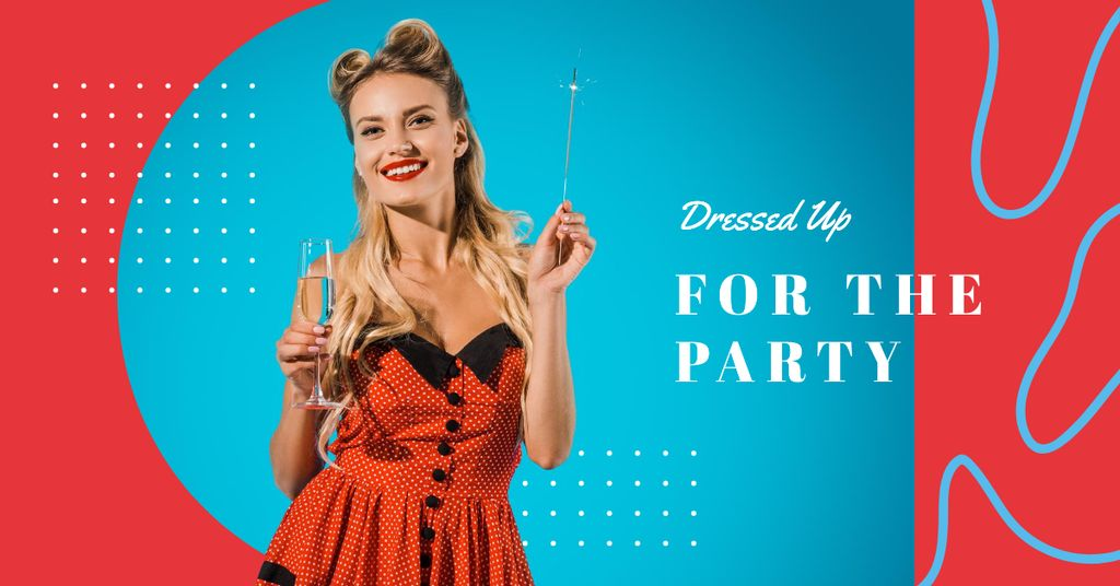 Woman in holiday red dress — Crear un diseño
