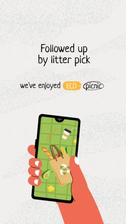 Ontwerpsjabloon van Instagram Story van No Waste Concept with Groceries in Eco Bag