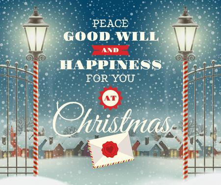 Merry Christmas letter in winter Facebook Modelo de Design