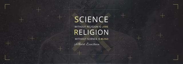 Science and Religion Quote with Human Image Tumblr Modelo de Design