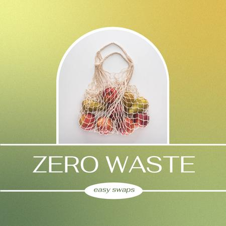 Ontwerpsjabloon van Instagram van Zero Waste concept with Eco Bag
