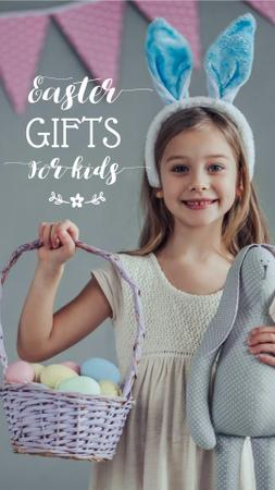 Easter Gifts Offer with Cute Girl holding Eggs Basket Instagram Story Modelo de Design
