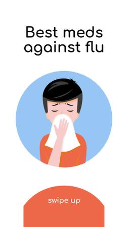 Health Advice with Man sneezing Instagram Story Modelo de Design