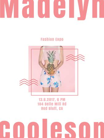 Plantilla de diseño de Summer Fashion Ad Girl Holding Pineapple Poster US