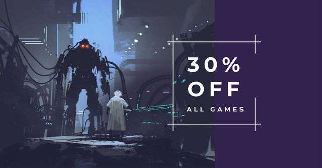 Online Games Offer with Giant Robot Facebook AD Design Template