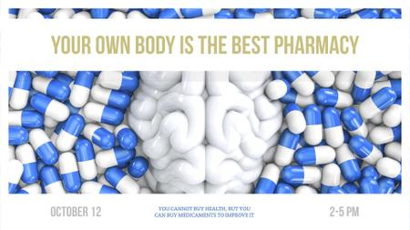 Pharmacy advertisement with brain and pills FB event cover Modelo de Design