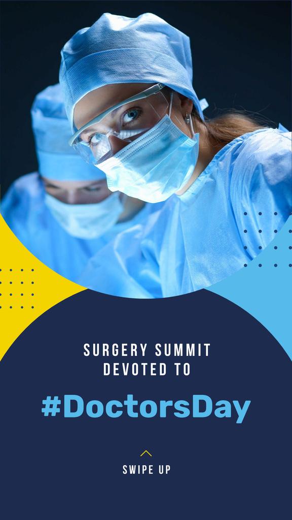 Plantilla de diseño de Doctors Day Event Announcement with Surgeons Instagram Story