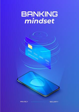Banking Services on Phone screen Poster Design Template