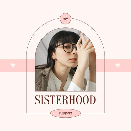 Sisterhood Support Announcement with Young Girl Instagram Modelo de Design