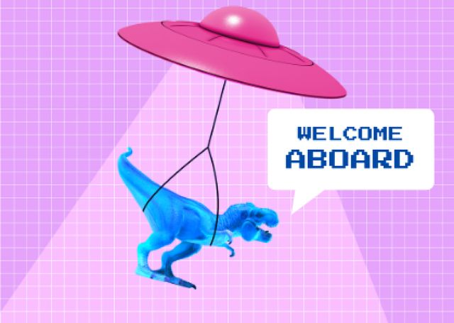 Funny Illustration of Dinosaur flying on UFO Card – шаблон для дизайна