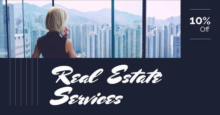 Designvorlage Real Estate Agent Talking on Phone für Facebook AD