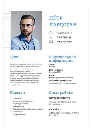 Professional copywriter skills and experience Resume – шаблон для дизайна