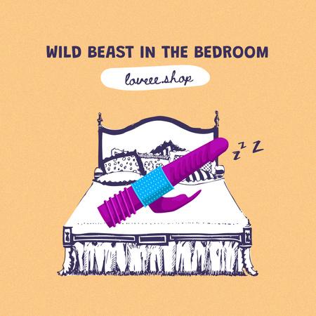 Funny Promotion of Love Shop with Bed Illustration Instagram – шаблон для дизайну