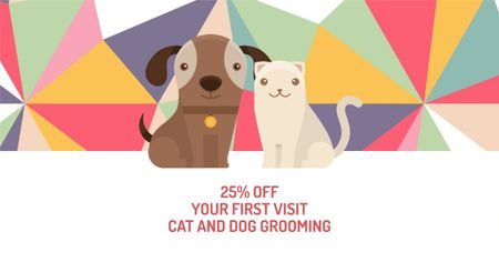 Designvorlage Pet Grooming Services Offer with Cute Dog and Cat für Facebook AD