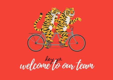 Template di design Greeting Phrase with Cute Tigers on Bicycle Card
