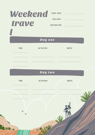 Plantilla de diseño de Weekend Travel plan and notes Schedule Planner