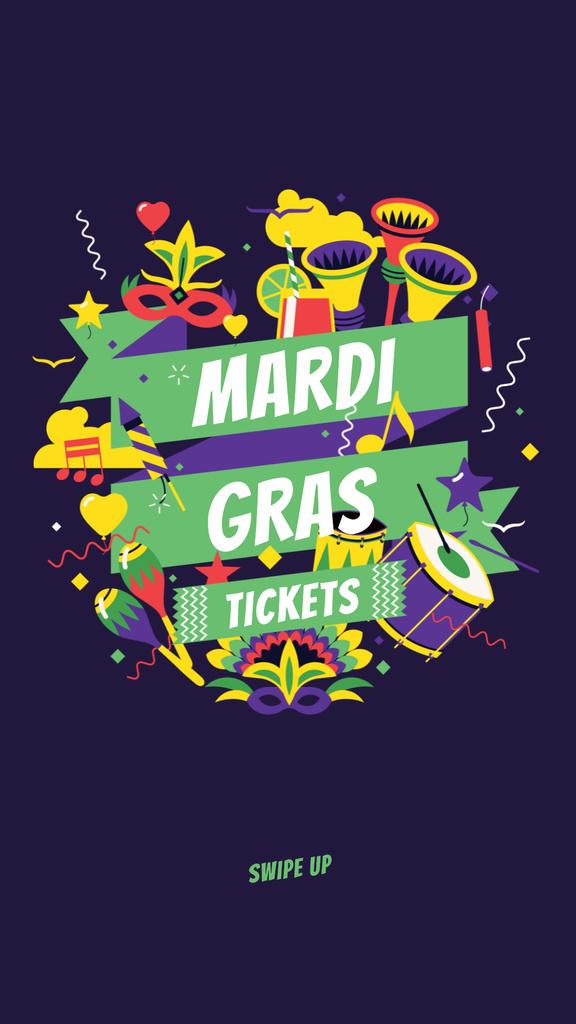 Designvorlage Mardi Gras Tickets Offer with Holiday Attributes für Instagram Story