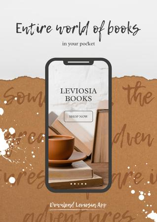 Books App with cup of Coffee and Books on screen Poster – шаблон для дизайну