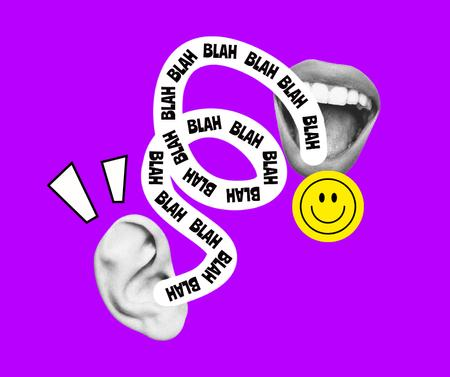 Template di design Funny Illustration with Ear and Mouth Facebook