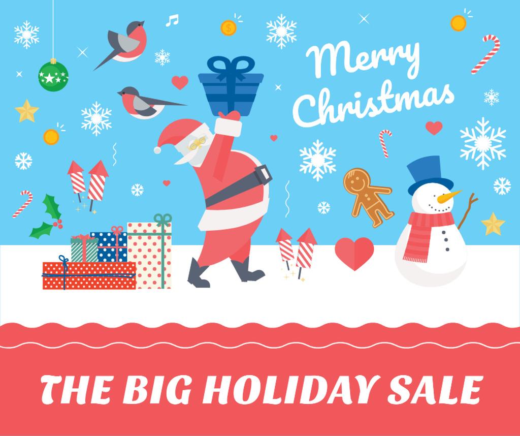 Christmas Holiday greeting Santa delivering Gifts — Crea un design